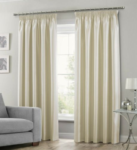 CREAM COLOUR STYLISH FAUX SILK FULLY LINED PAIR OF CURTAINS
